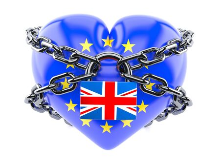 Brexit heart with chaind and padlock isolated isolated on white background Stock Photo