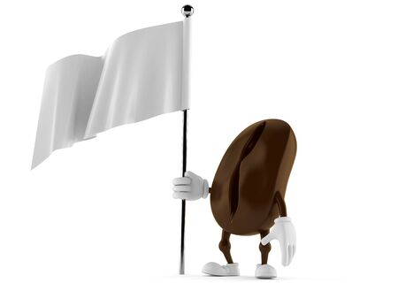surrendering: Coffee bean character holding white flag isolated on white background Stock Photo