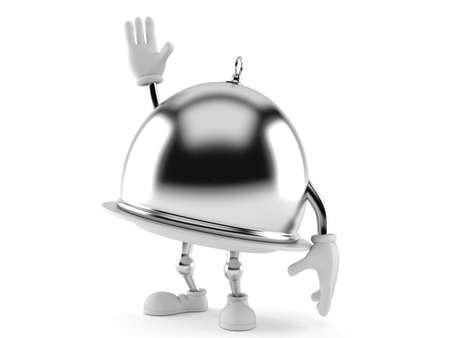 Catering dome character with hand up isolated on white background
