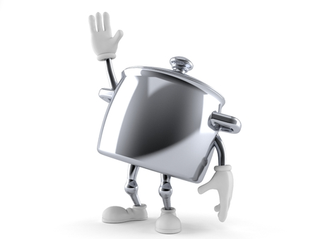 Kitchen pot character with hand up isolated on white background Stock Photo