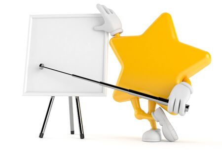 stick out: Star character with blank whiteboard isolated on white background