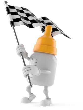 Baby bottle character holding race flag isolated on white background Stock Photo