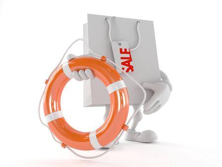 Shopping bag character holding life buoy isolated on white background