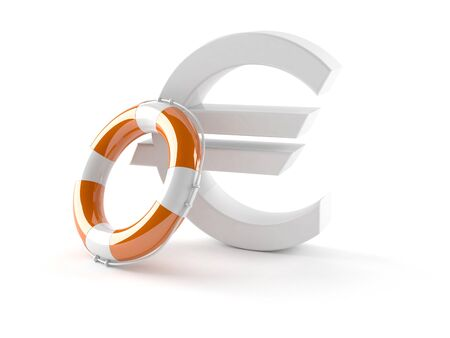 Euro currency symbol with life buoy isolated on white background