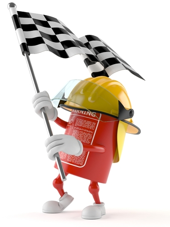 Fire extinguisher character waving race flag isolated on white background Stock Photo