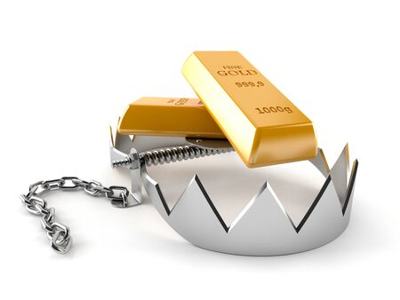 bear trap: Gold with bear trap isolated on white background