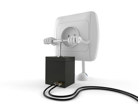 Carácter de salida con detonador aislado sobre fondo blanco