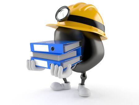 Miner character carrying ring binders isolated on white background Фото со стока