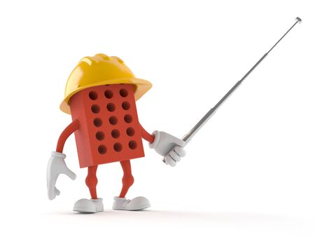Brick character holding pointer stick isolated on white background