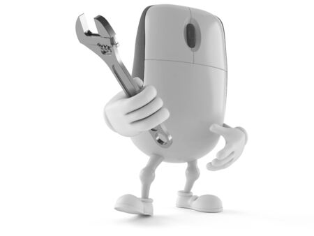 Computer mouse character holding adjustable wrench isolated on white background
