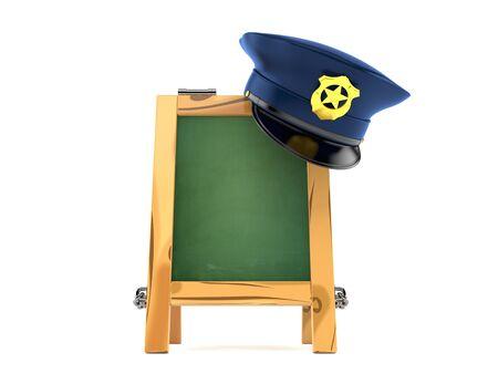 警察の帽子白い背景で隔離の木製黒板