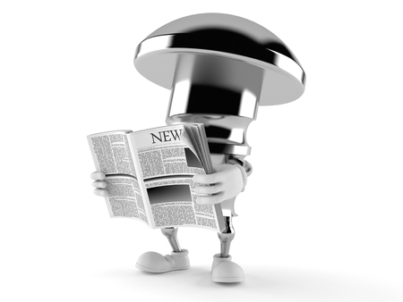 Bolt character reading newspaper isolated on white background Stock Photo