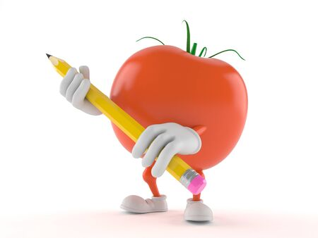 Tomato character holding pencil isolated on white background