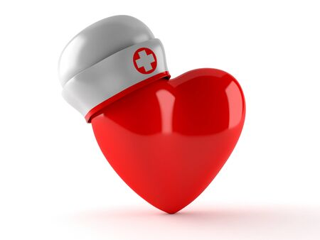 nurse hat: Heart with nurse hat isolated on white background