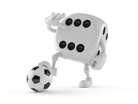 Dice character with soccer ball isolated on white background