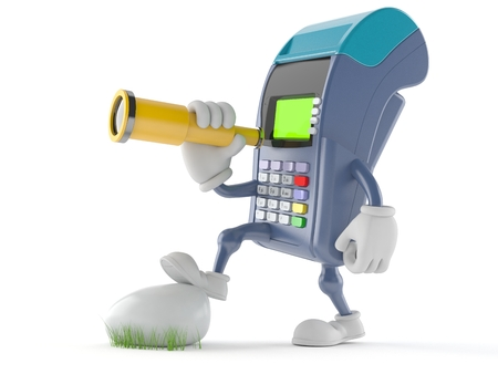 finding out: Credit card reader character looking through a telescope isolated on white background Stock Photo