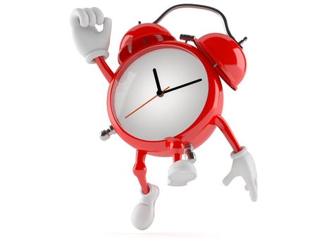 Alarm clock character jumping in joy isolated on white background