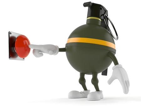 Hand grenade character pushing button isolated on white background Stock Photo