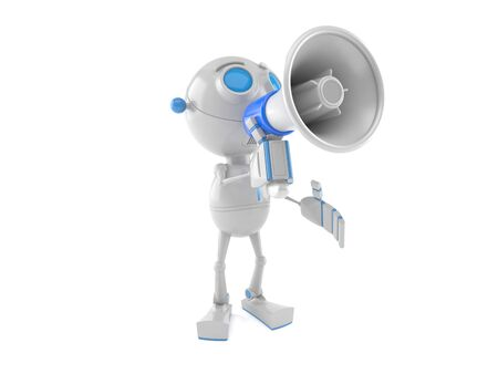 Robot speaking trough megaphone isolated on white background