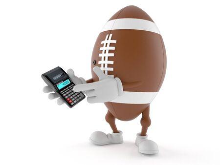 Rugby Charakter mit Taschenrechner isoliert auf weißem Hintergrund Standard-Bild - 80501924