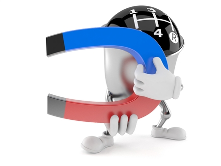 Gear knob character holding horseshoe magnet isolated on white background