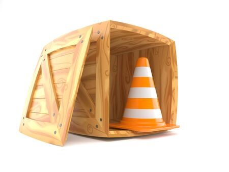 warehouse: Cargo crate with traffic cone isolated on white background
