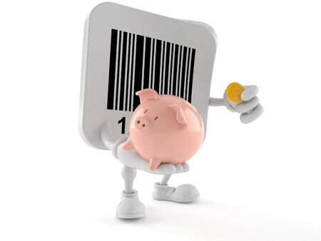 Barcode character holding piggy bank isolated on white background