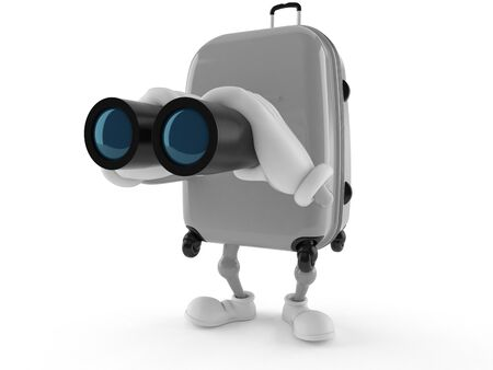 observation: Suitcase character looking through binoculars isolated on white background