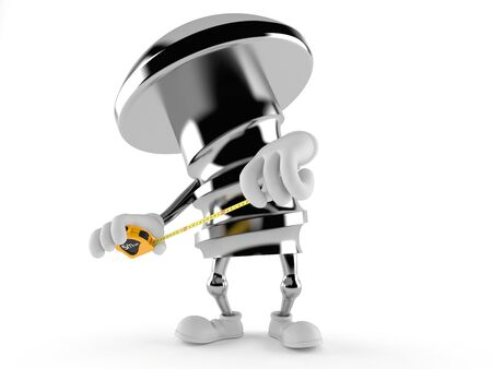 Bolt character with measuring tape isolated on white background Stock Photo