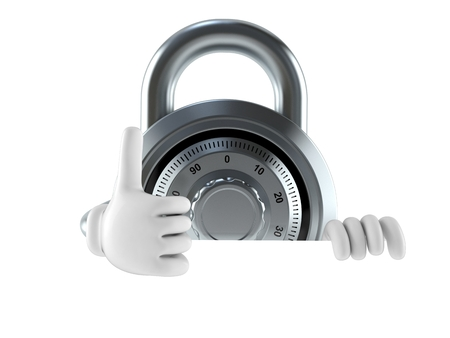 metalic: Combination lock character isolated on white background Stock Photo