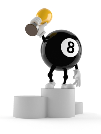 Eight ball character holding golden trophy isolated on white background