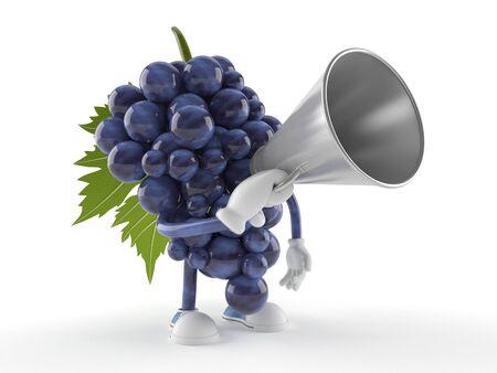 Druivenkarakter die door een megafoon spreken die op witte achtergrond wordt geïsoleerd