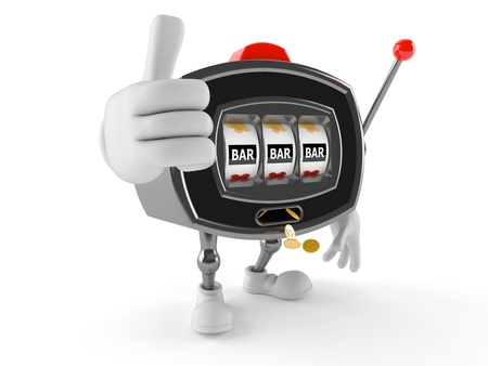 엄지 손가락에 격리 된 흰색 배경에 슬롯 머신 캐릭터