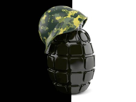 handgrenade: War concept isolated on black and white background