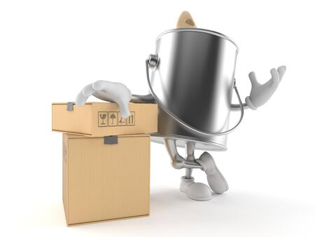 paintcan: Paint can character with stack of boxes isolated on white background