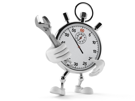 Stopwatch character holding adjustable wrench isolated on white background Stock Photo