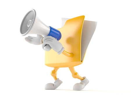 catalog: Folder character speaking through a megaphone isolated on white background