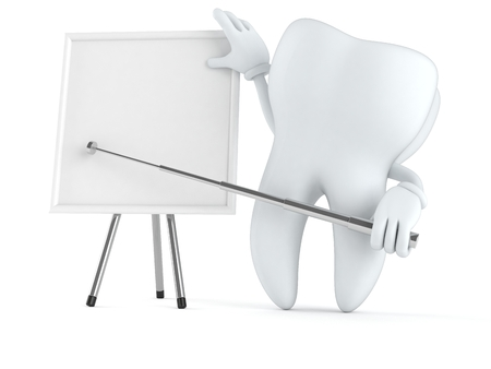stick out: Tooth character with blank whiteboard isolated on white background Stock Photo