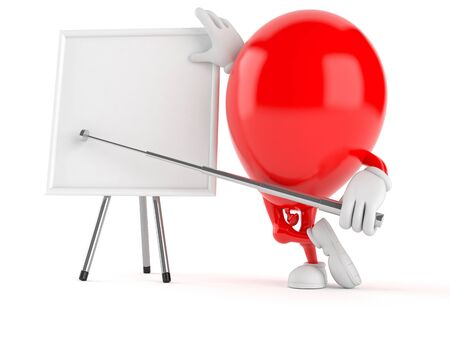 stick out: Balloon character with blank whiteboard isolated on white background Stock Photo