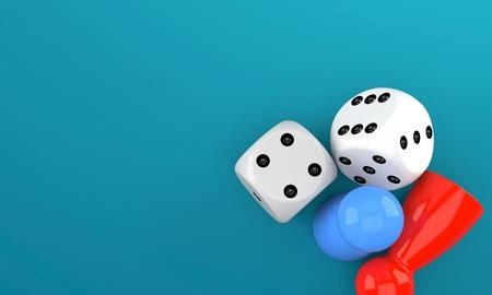 파란색 배경에 고립 된 보드 게임 개념
