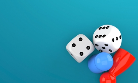 Bordspel concept geïsoleerd op blauwe achtergrond