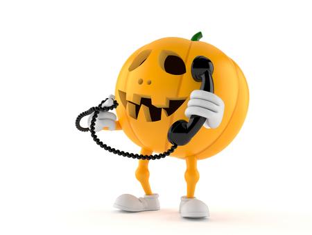 Halloween pumpkin character holding handset on white background Foto de archivo