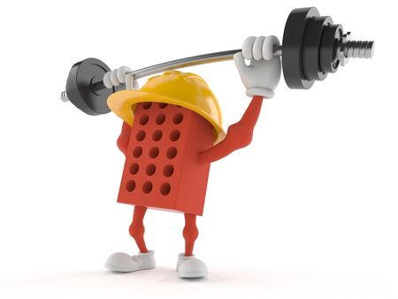 Brick character lifting heavy barbell isolated on white background 版權商用圖片