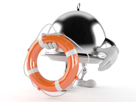 Silver catering dome with life buoy isolated on white background