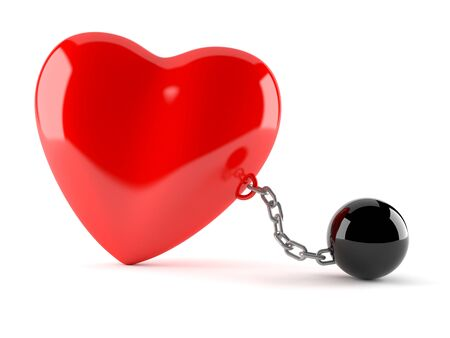 prison ball: Heart with prison ball isolated on white background Stock Photo
