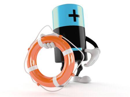 Battery character holding life buoy isolated on white background Stock Photo