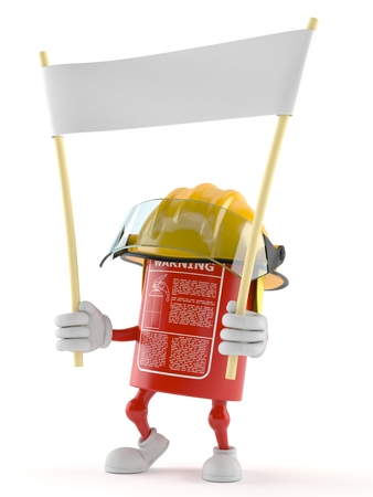 Fire extinguisher character holding blank banner on white background