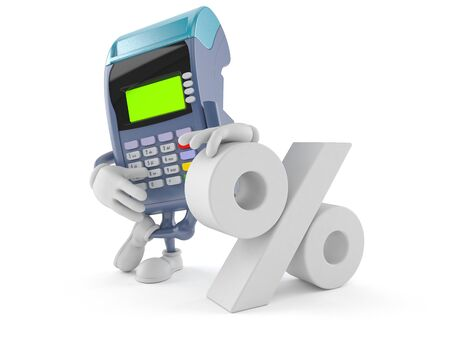 Credit card reader character with percent symbol isolated on white background