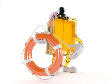 Perfume toon with life buoy isolated on white background Stock Photo