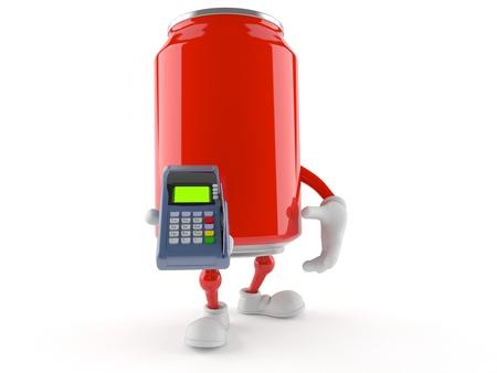 Soda kan karakter houden creditcard lezer geïsoleerd op een witte achtergrond Stockfoto